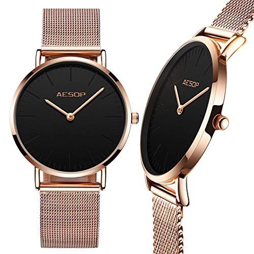 (Ultra Thin Womens Watch Rose Gold,Ladies Gold Watches,Lady Watches with Big Face,Woman Watches on Sale Clearance,Black Watches for Women Luxury Casual Analog Female Quartz Wrist Watches)