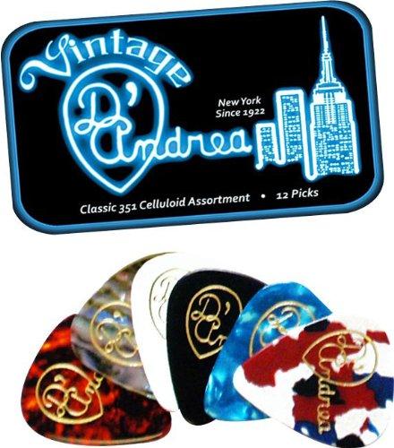 D'Andrea TNVCM Guitar Picks, 12-Piece, Collectible Tin, Vintage Assortment, Medium