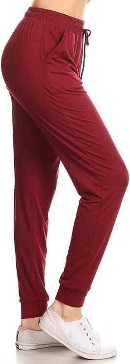 Leggings Depot JGA128-BURGUNDY-L Solid Jogger Track Pants w/Pockets, Large best women's joggers