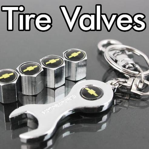 Chevy Tire Valve Caps with Bonus Wrench Keychain