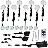 Aiboo Kitchen Under Cabinet Lighting LED 12Vdc 8 Pack Black Cord Aluminum Puck Lights for Counter Closet Furniture Lighting with Dimmable RF Remote Control(16W, Day white)