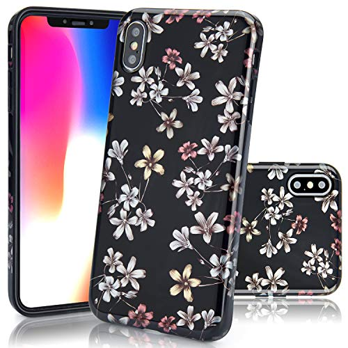 iPhone XS Max Case, EUNSOUL [Glossy Finish] Clear Thin Slim Fit Soft Flexible TPU Protective Bumper Cute Black Floral Flower Pattern Phone Case Cover for Apple iPhone XS Max (2018) - 6.5