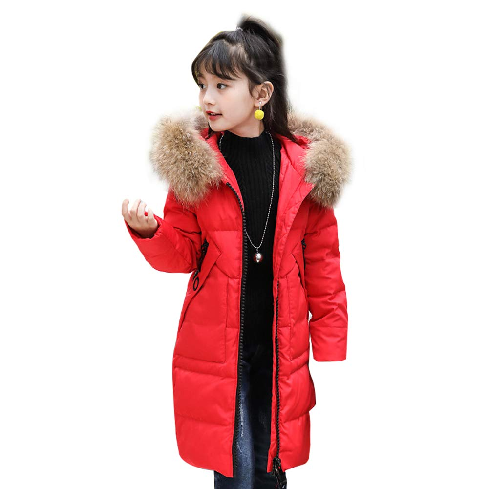 SITENG Girls' Kids Winter Fur Hooded Down Coat Puffer Jacket Parka 5 6 7 8 9 10 Years Overcoat Big Girl DT-8881