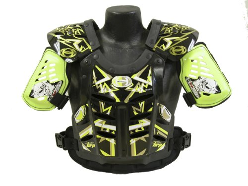 HRP Flak Jak IMS RC Motocross Chest Protector Black Yellow Gold Roost Deflector (Xlarge)