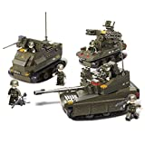 Sluban M38-B0290 Joint Military Exercise Set Blocks Army Bricks Toy -Amphibious Armored Car & Leopard II Tank & Tor Anti-Aircraft Missiles
