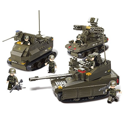 Sluban M38-B0290 Joint Military Exercise Set Blocks Army Bricks Toy -Amphibious Armored Car & Leopard II Tank & Tor Anti-Aircraft Missiles by Sluban