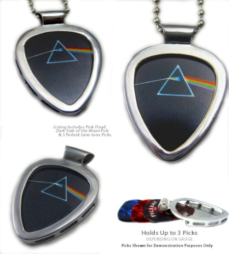 PICKBAY Guitar Pick Holder Pendant (Stainless Steel) w PINK FLOYD Dark Side of the Moon Guitar Pick (licensed pick)