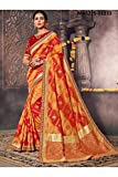 Asmafashion Store Indian Sarees For Women Designer Wedding Partywear Orange Color In Yellow Cotton Silk
