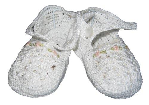 Kissy Kissy Baby-Girls Infant Besos Anna Crochet Booties-White-9-12 (Crochet Preemie Booties)