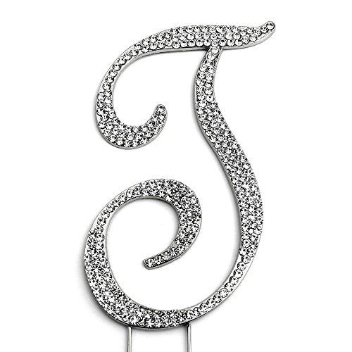 Sparkly Rhinestones Cake Topper - Silver Monogram Decoration for Wedding, Birthday & Anniversary Cakes (Letter T) -