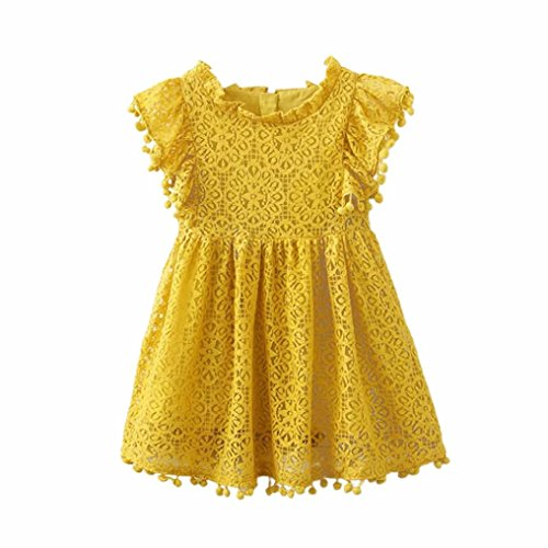 Kehen Kids Toddle Girls Summer Party Clothes Pom Pom Fold Short Sleeve Solid Lace Princess Dress (Yellow, 4T)