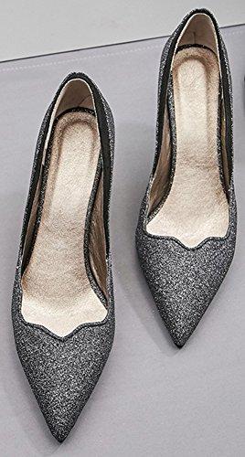 Idifu Donna Slip On High Stiletto Con Tacco A Punta Glitter Pumps Per Party Black