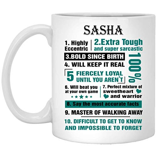 Our name is Mud mugs For kids SASHA Highly Eccentric 10 Facts - Best Sarcastic Tea Coffee Mugs For Him, Her On Mother's Day - White Ceramic 11 ()