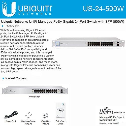 Ubiquiti UniFi Switch - 24 Ports - Manageable - 24 x POE+ - 2 x Expansion Slots - 10/100/1000Base-T, 1000Base-X - Rack-mountable - US-24-500W