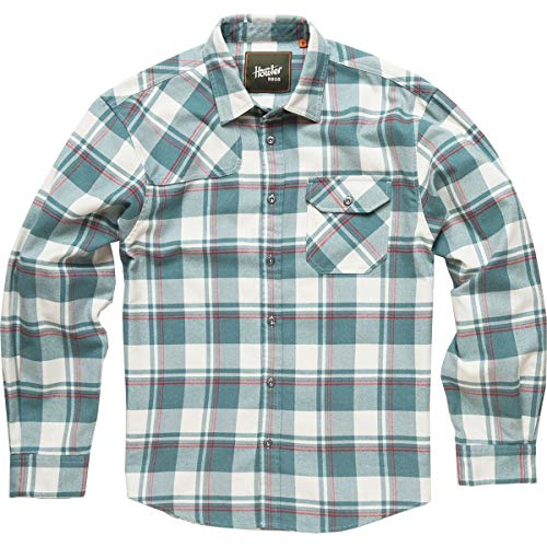 Howler Brothers Harkers Flannel Shirt - Men's Pedernales Plaid:Off White/Sea Blue, L