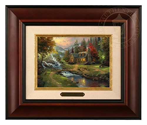 Thomas Kinkade Mountain Paradise Brushwork (Burl Frame)