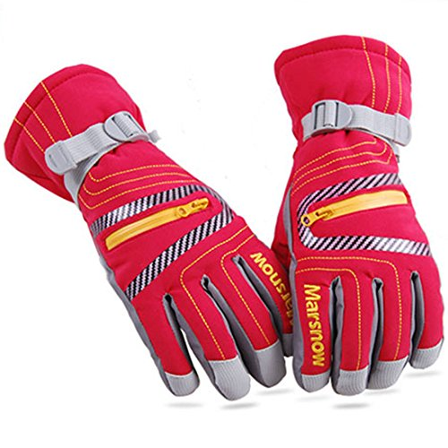 Price comparison product image AMYIPO Kids Adult Snow Gloves Waterproof Windproof Winter Warm Gloves Ski Snowboard Gloves Wind Outdoor Cycling Work Gloves for Children Men Women (Red, S)