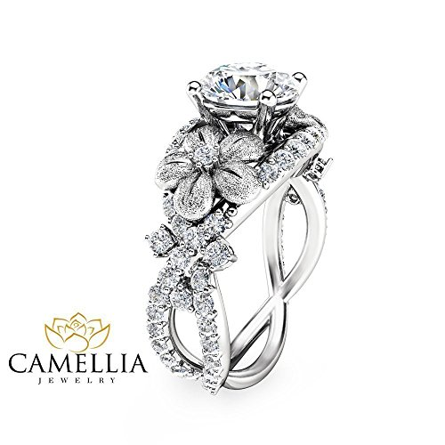 Side Deco Ring (Forever Brilliant Moissanite Ring 14K White Gold Engagement Ring Flower Design Ring with Natural Side Diamonds)