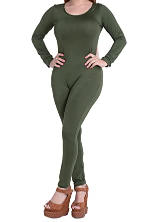 ffd4e0c8a24 Rokiney Women Long Sleeve Back Zipper Bodycon Long Club Jumpsuit Rompers  Green S