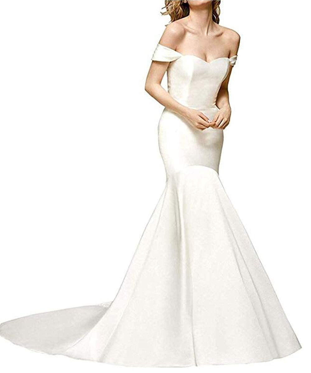 White Modeldress Women's Off The Shoulder Wedding Dresses for Bride Backless Satin Mermaid Long Evening Party Gowns