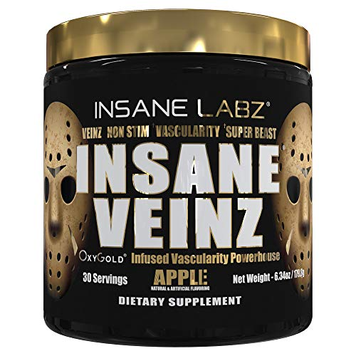 Insane Labz Insane Veinz Gold, Nitric Oxide Non Stimulant pre Workout Powder, Loaded with Hydromax, Nitrosigine, Increases Vascularity and Blood Flow, 30 Srvgs, Apple