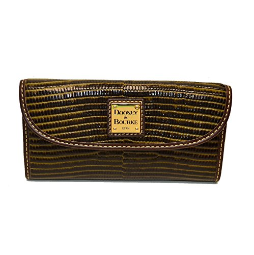 - Dooney & Bourke Lizard emb Leather Continental Clutch Olive/T'Moro