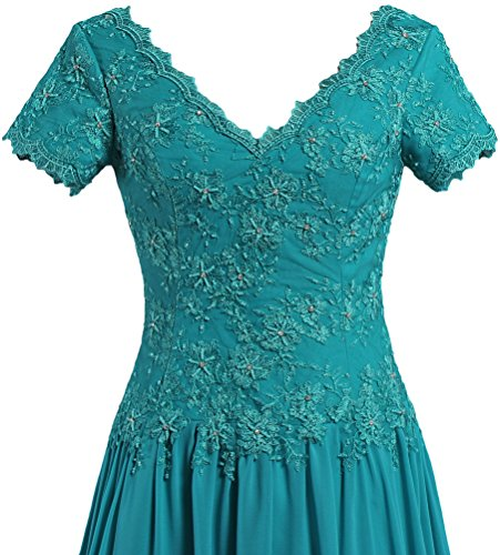 Royal Dresses Long The Bride Mother Sleeve Women's Neck Blue of Short Gowns ANTS V qw71pAxnS