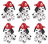 4E's Novelty Stuffed Dalmatians Soft Plush Puppy Dogs, Pack of 6 Large 7' Fire Hat Dalmatian Puppies for Kids Boys and Girls, Great Gift & Party Favor