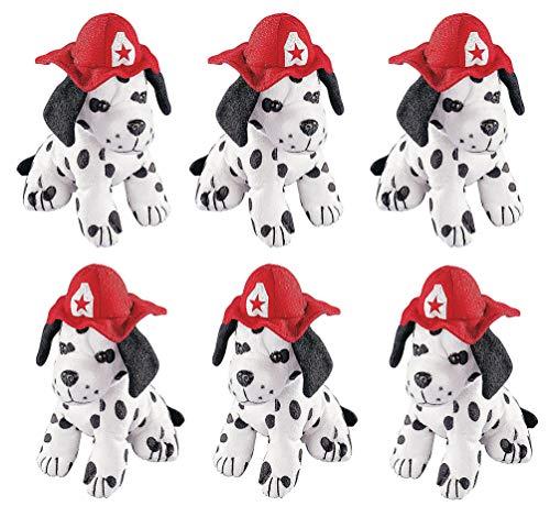 Dog Dalmatian Figurine (4E's Novelty Stuffed Dalmatians Soft Plush Puppy Dogs, Pack of 6 Large 7