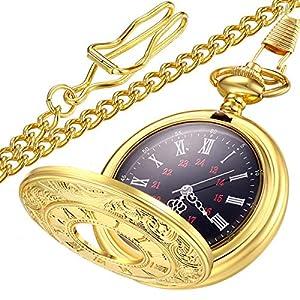 LYMFHCH Vintage Pocket Watch Roman Numerals Scale Quartz Mens Womens Watch with Chain Christmas Graduation Birthday…