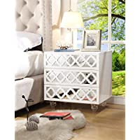 Inspired Home Pablo Modern Glossy 3-drawer Mirrored Side Table / Accent Table / Nightstand with Lucite Acrylic Legs, White