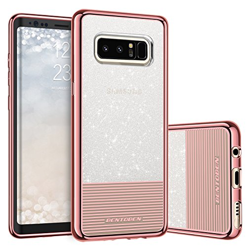 BENTOBEN Case for Galaxy Note 8, Hybrid Dual Layer Heavy Duty Shockproof Protective Slim Phone Cases Glitter Sparkly Stripes Design Girls Women Cover for Samsung Galaxy Note 8 (6.3 inch) - Rose Gold