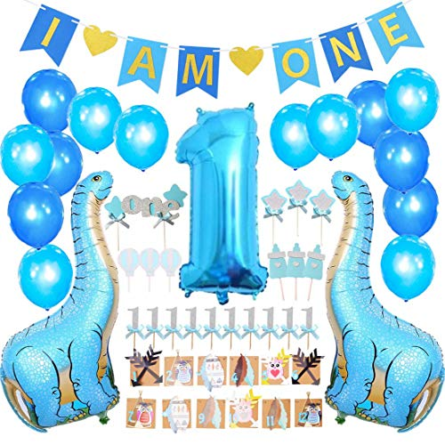 FIRST BIRTHDAY DECORATION SET FOR BOY- 1st Baby Boy Birthday Party, I AM ONE banner,Photo Booth, Dinosaur Mylar Foil Balloons,Cake Topper,Cupcake Topper,Milk Bottle,Star Topper,Hot Balloon Topper ()