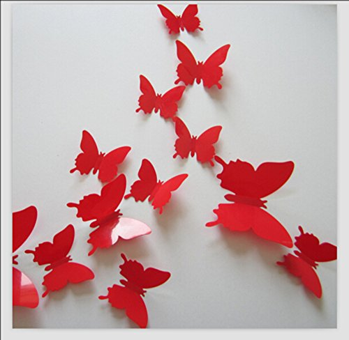 Romantiko 12 Pcs Fashion 3D Butterfly Wall Stickers Art Decor Decal For Home Wedding Party Red