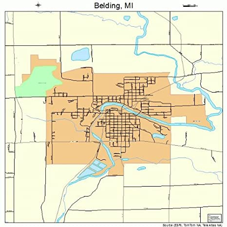 Belding Michigan Map.Amazon Com Large Street Road Map Of Belding Michigan Mi