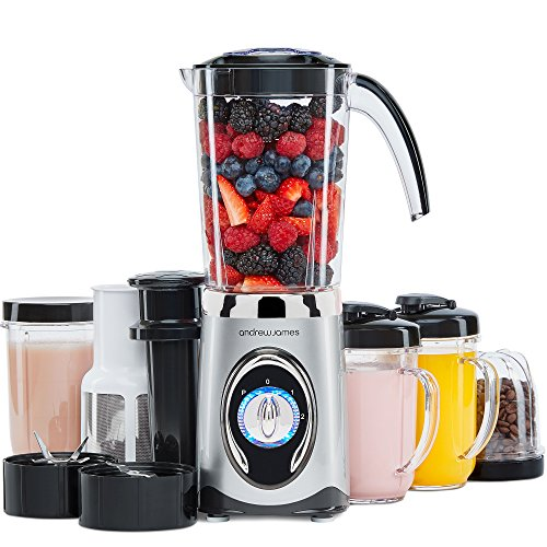 Andrew James Smoothie Maker | 4 in 1 Blender Machine with 1L Jug Travel Large 500ml Blending Cup & Small 300ml Blending Cups with Lids | Ice Crusher Grinder Juicer Pusher | 220W | Silver