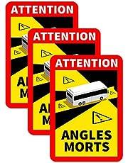 858 Fordonsklistermärken 1–30 st döda vinkeln dekal för buss bil vattentät dekal Angles Morts – med lastbil eller buss-motiv | varning för döda vinkeln