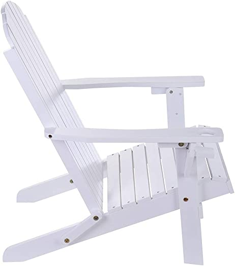 Adirondack Chair, Classic Folding and Reclining Adirondack Chair with Backrest for Patio Deck Garden, Backyard Lawn Furniture, 250-Pound Capacity White