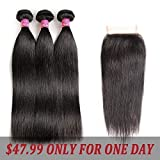 Brazilian Straight Hair With Closure 3 Bundles Unprocessed Virgin Human Hair Bundles With