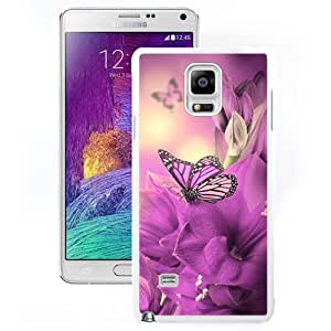 New Beautiful Custom Designed Cover Case For Samsung Galaxy Note 4 N910A N910T N910P N910V N910R4 With Primula Purple Butterfly (2) Phone Case