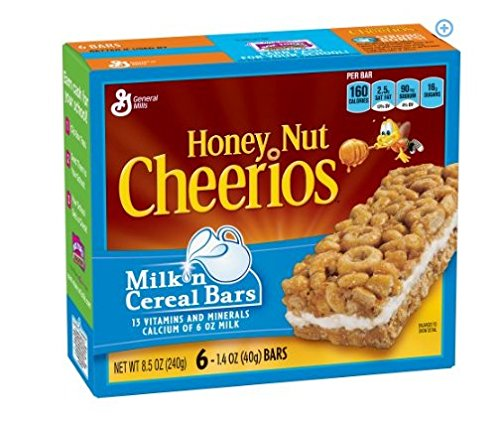 General Mills, Honey Nut Cheerios, Milk 'n Cereal Bars, 6-Count, 8.5oz Box (pack of 12) by Cheerios