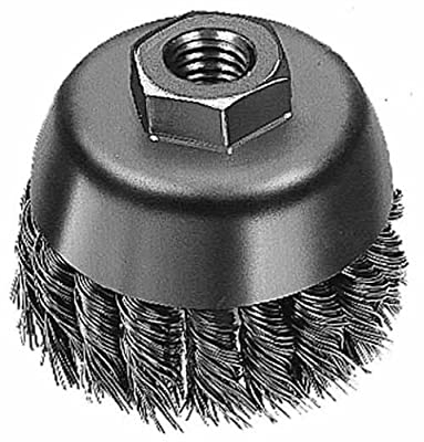"Weiler Wire Cup Brush, Threaded Hole, Steel, Partial Twist Knotted, Single Row, 3-1/2"" Diameter, 0.023"" Wire Diameter, 10x1.50 mm Arbor, 7/8"" Bristle Length, 13000 rpm (Pack of 1)"