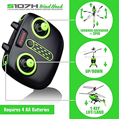 Syma Wind Hawk Remote Control Helicopter - Indoor RC Helicopter with Altitude Hold, LED Lights, Extended Flying Range, Multiple Flying Speeds for Adults and Kids, Includes Rechargeable Battery (Green): Toys & Games