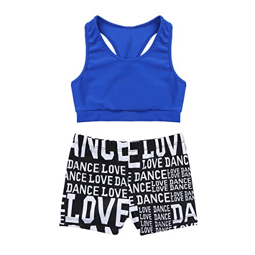 CHICTRY Kids Girls Racer Back Top and Shorts Love Dance Sets for Gymnastics Leotard Dancing Blue 5-6