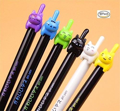 HIPGCC Cute Pea Sprouts Luminous Color Cartoon Dust Plug Gel Pen Ball Pen Kawaii Stationery Zakka Office Material Escolar School Supplies(Colorful) (cat)