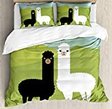 LAMANDA Twin Size Llama Luxury Soft Duvet Cover Set, Alpacas in Love in The Mountains Fauna Valentine's Animals with Contrasting Colors, Decorative 4 Pieces Bedding Sets, Multicolor,