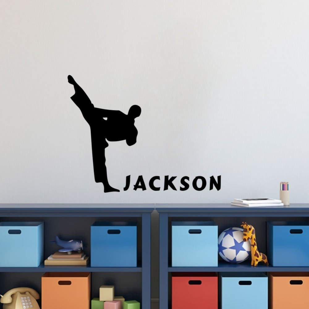 Wall Sticker Quotes Decals Decor Vinyl Art Stickers Personalised Boys Name Karate Home Decor Kids Bedroom Decoration by Sifers