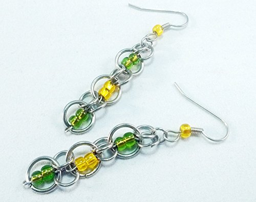 Team Colors ChainMaille Earrings Green and Gold