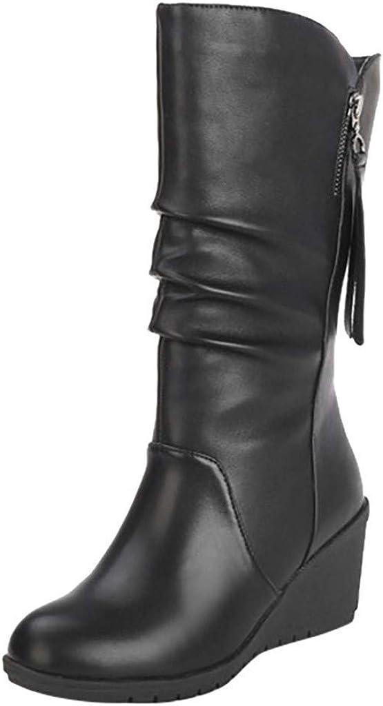 POLP Botas Botas Mujer Invierno Botines y Botas Altas Mujer Botas Altas cuña Botas Altas Mujer Botas de cuña Botines Altos Zapatos Mujer para Lluvia Botas Mujer Altas de Mujer Tacon
