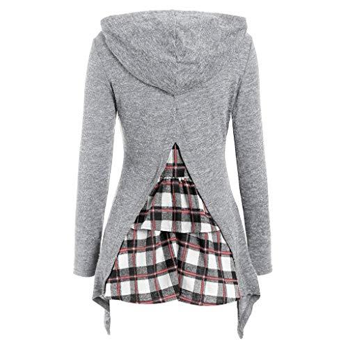 Women Long Sleeve Hooded Back Plaid Patchwork Irregular Sweatshirt Top Pullover